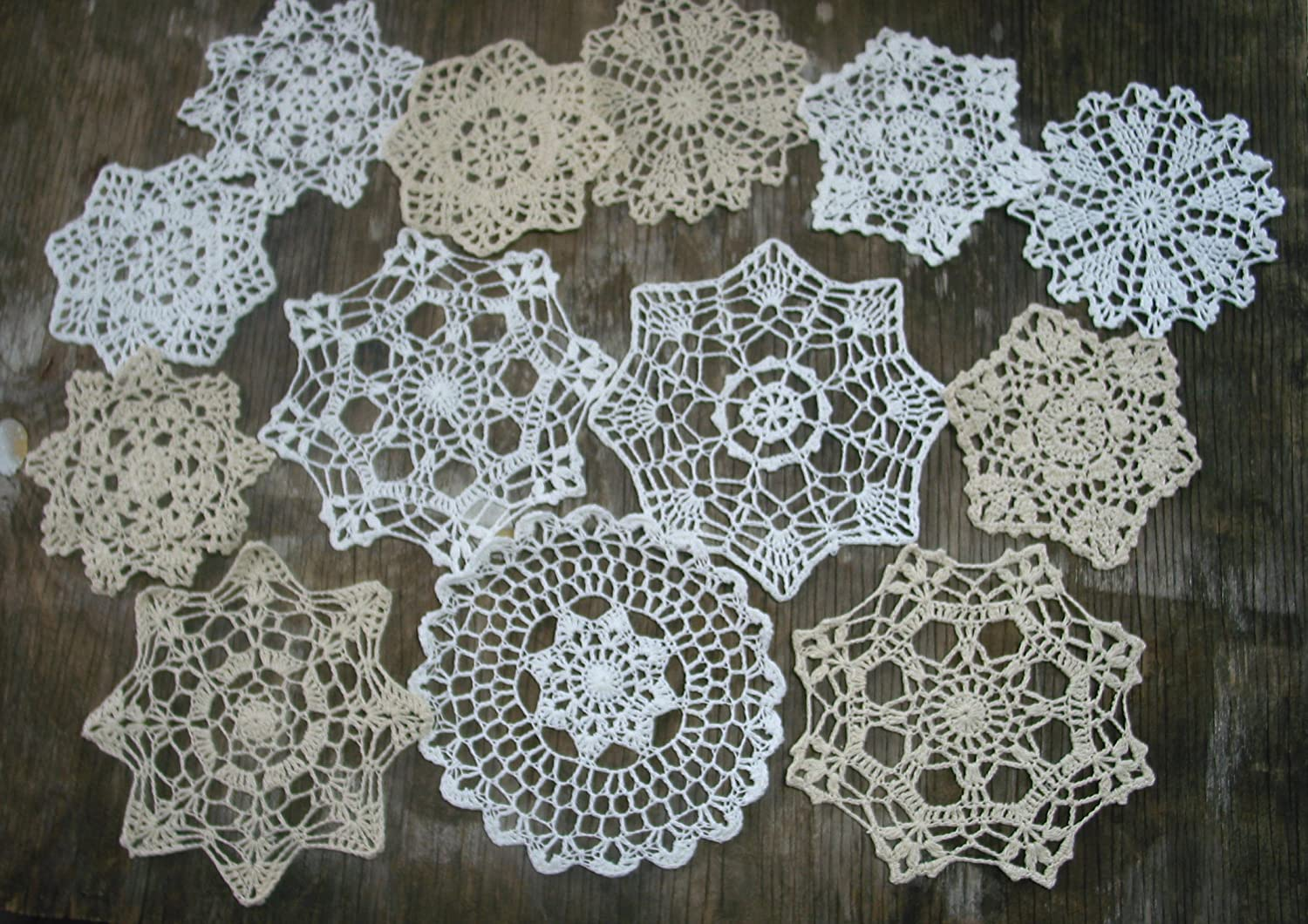 Amazon Set Of 14 Hand Crochet Doilies 5 7 14 White Natural