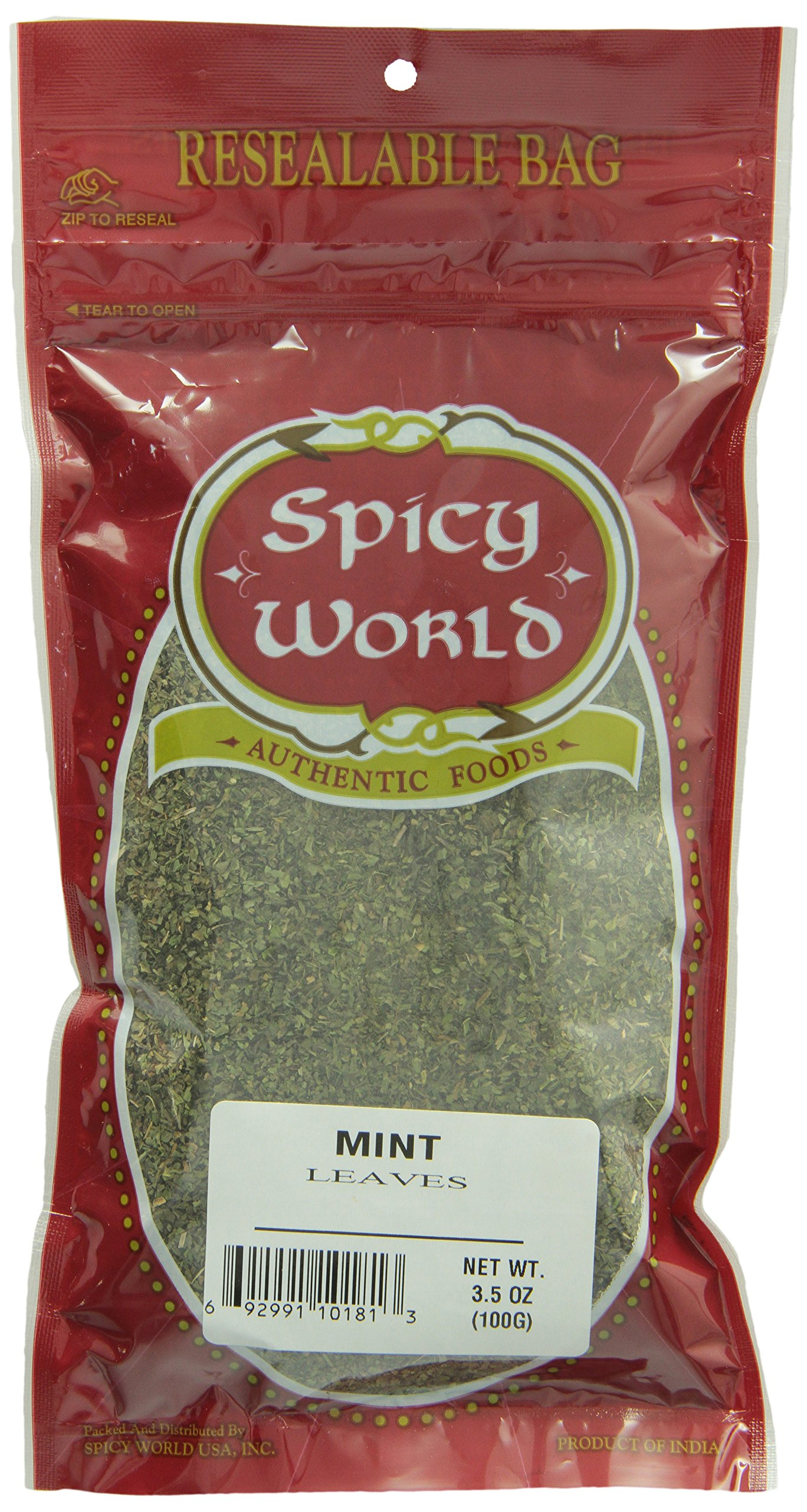 Spicy World Crushed Mint Leaves, 3.5-Ounce Bags (Pack of 6)