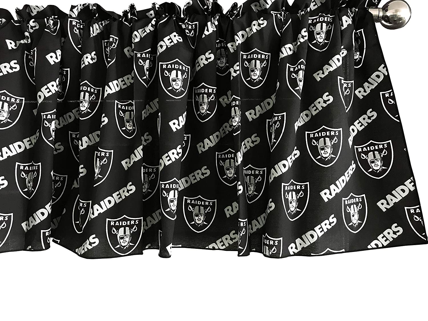 Zen Creative Designs 100% Cotton NFL Sports Team Oakland Raiders Black Multi-Print Window Valance Panel / Kids Nursery Window Treatment Decor (14' Tall)