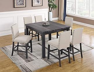 daab0dada591 Best Master Furniture H800 Helena 7 Pcs Counter Height Set Antique Grey