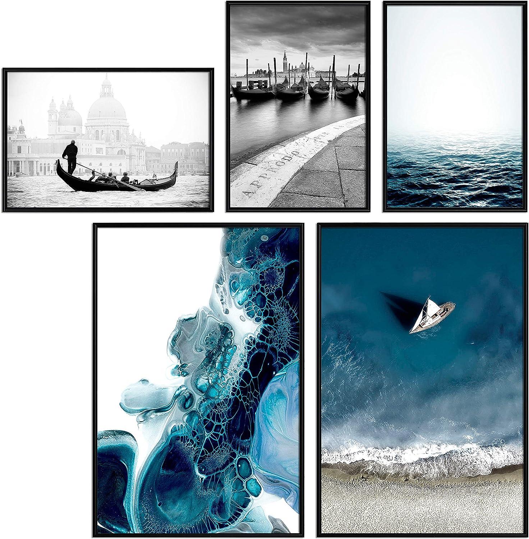 murando Poster Conjunto de 5 Carteles Colección de Posters Cuadro Impresos Póster con Motivos Artísticos Galería de Pared Serie de Carteles Modernos Decoración Barcos Mar Azul Negro Blanco Abstracto