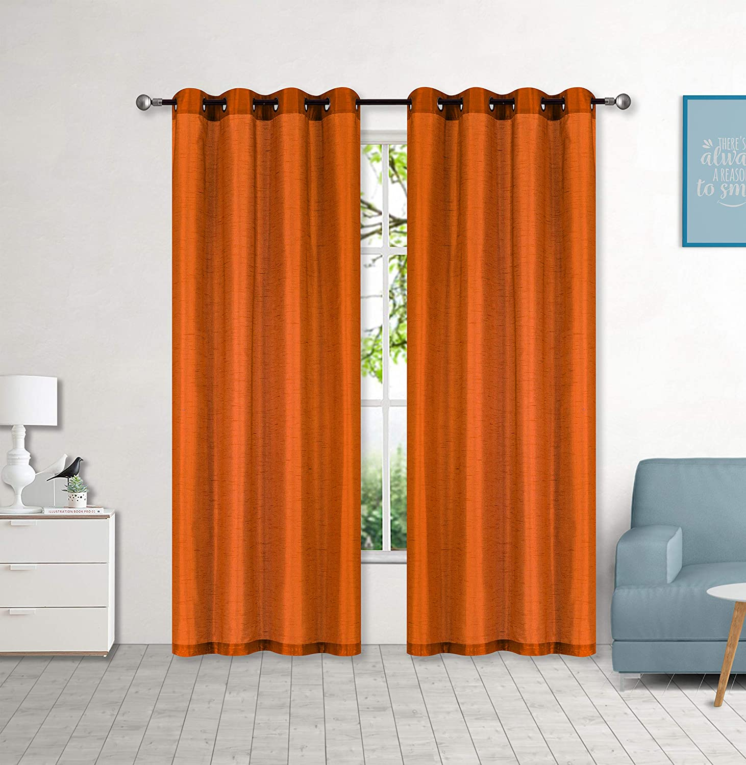 "Sapphire Home 2 Panel Faux Silk Solid Curtain Drapes with Grommet (108"" Total Width by 84"" L), Solid Color Curtain Panels for Any Bedroom or Patio Door - Non-blackouts/Semi Sheer Panels - Orange"