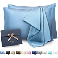 ENETIX Luxury Silk Satin Pillowcase for Hair and Skin, 2-Pack with Hidden Zipper, Smooth Acne Free Satin Pillow Cover…