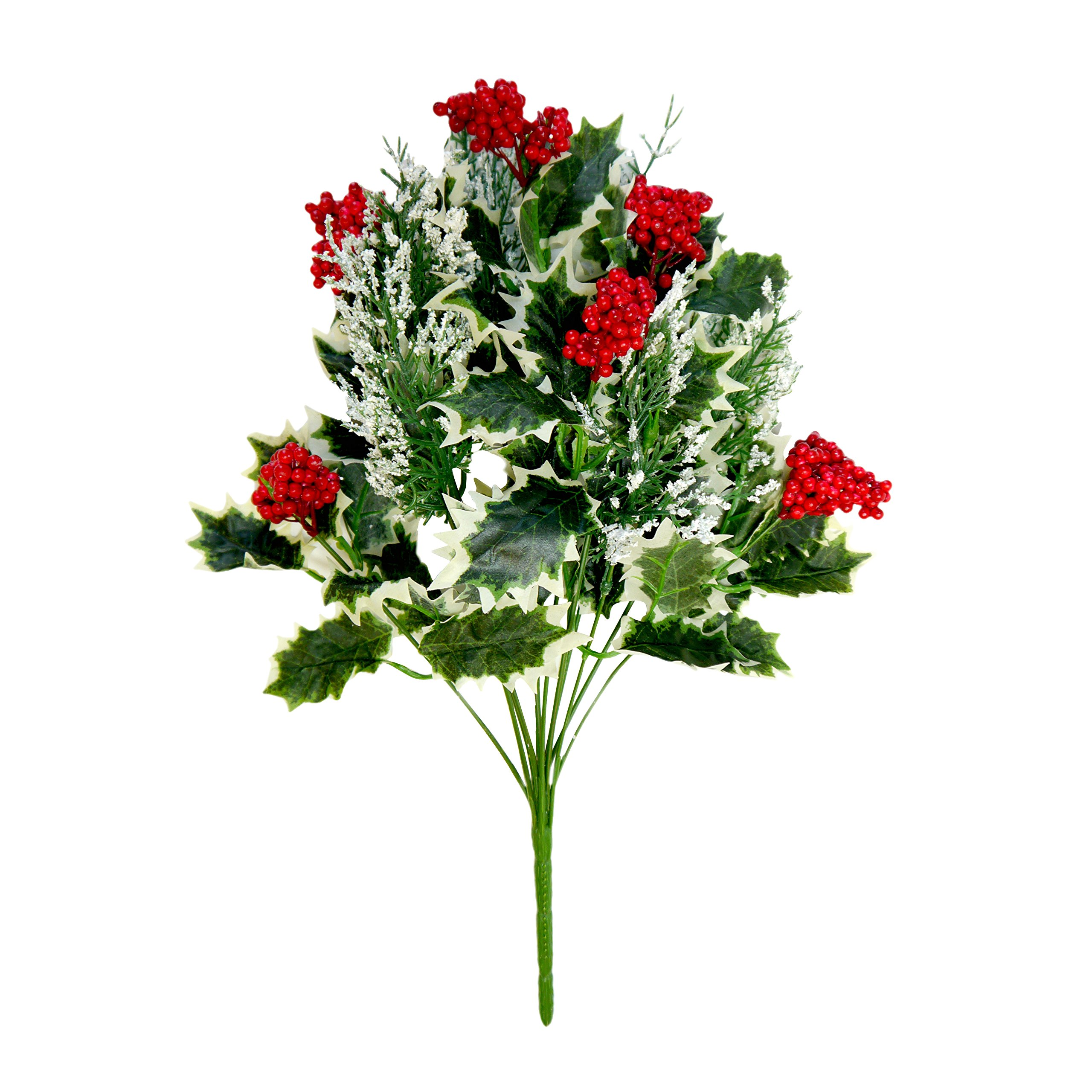 Christmas Holly Bush with Berries 16 Inch Set of 6