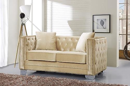 Meridian Furniture Reese Beige Velvet Loveseat Beige