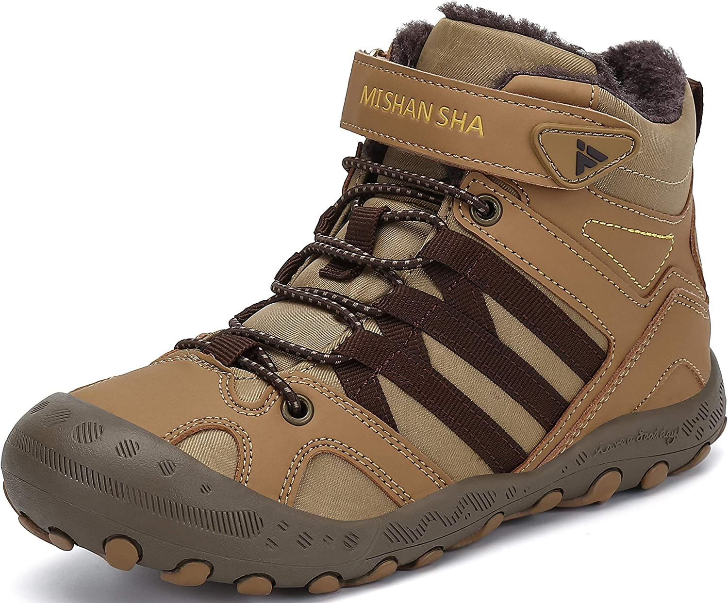 Mishansha Winter Childrens Boots Warm Fur Lined Outdoor Shoes for Boys /& Girls