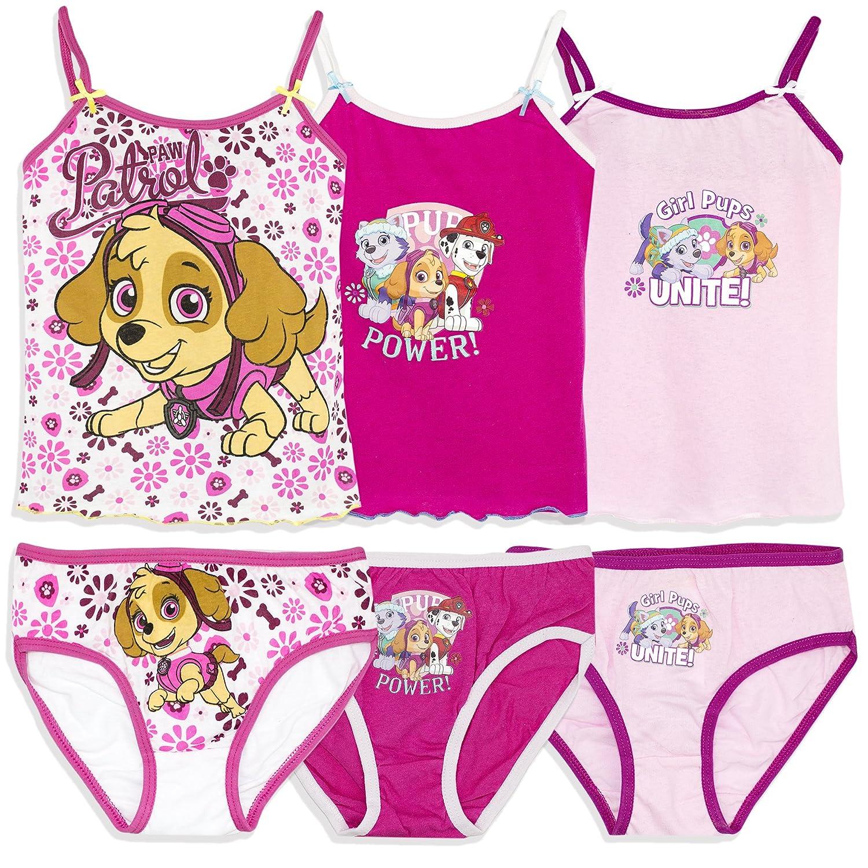 Official Paw Patrol Licensed Girls Underwear Set Bulk 6 PCS Pack 3 Briefs + 3 Cami Vest 2-8 yrs