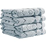 Stone & Beam Flora Jacquard Cotton Washcloth Set, 4-Pack, Regatta