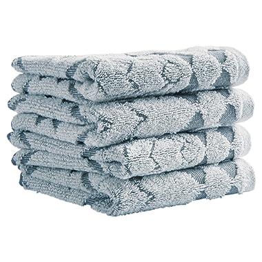 Stone & Beam Flora Jacquard Cotton Washcloth Set, Set of 4, Regatta Blue