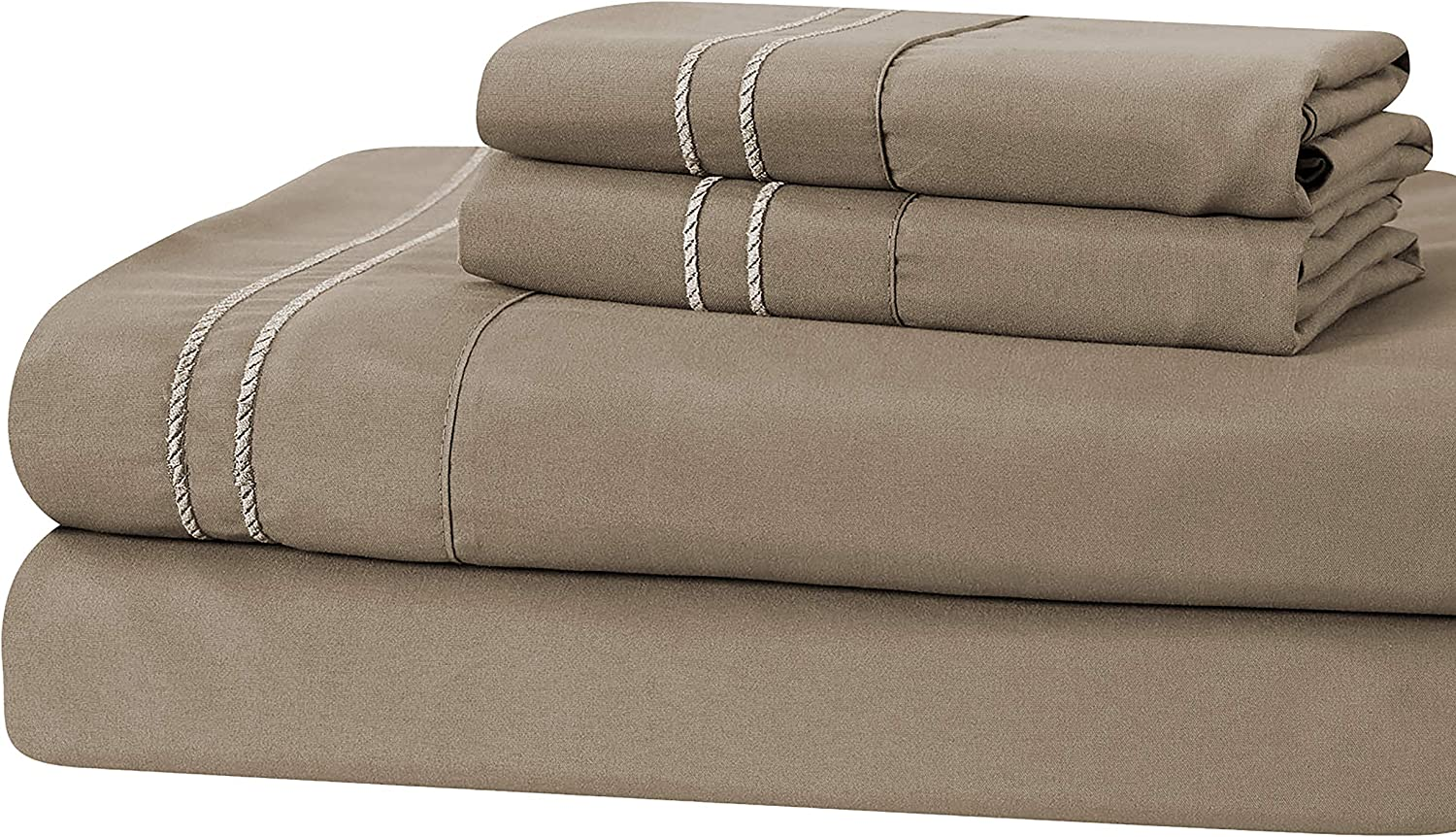 Manor Ridge Luxury 100 GSM Brushed Microfiber Extra Soft Hypoallergenic 3-Piece Double Marrow Hem Sheet Set, Twin, Taupe