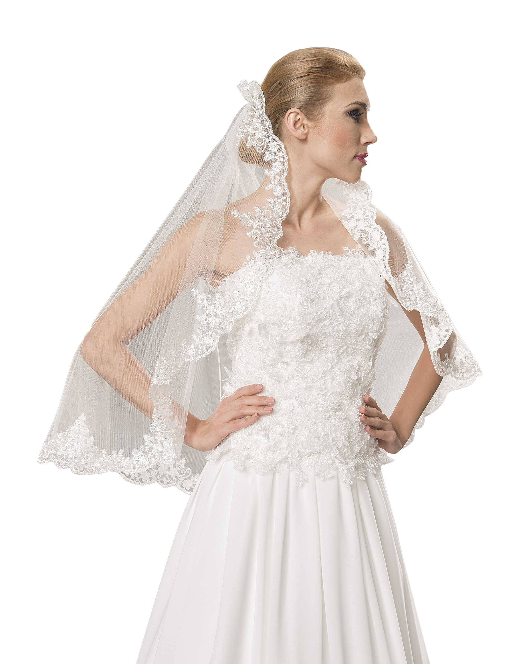 1 Tier Wedding Lace Edge Bridal Elbow Veil 32'' (Ivory)