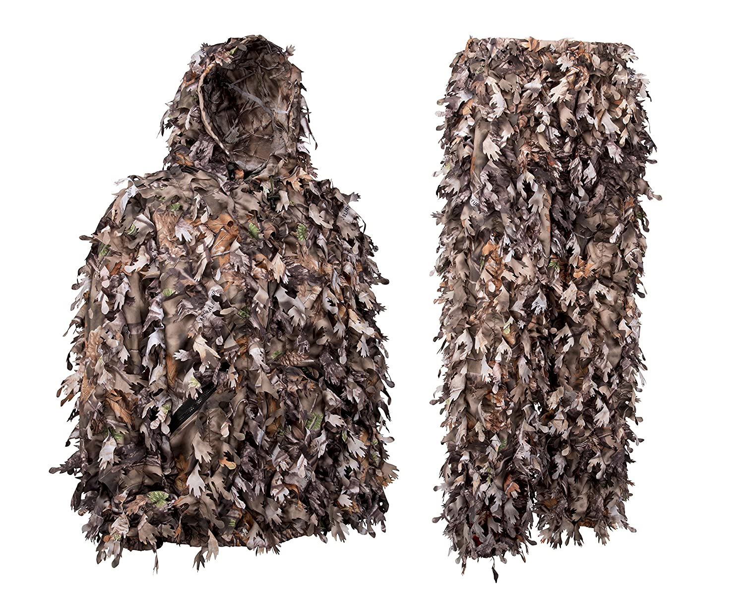 1d41b411bca1e Amazon.com : North Mountain Gear Camo Ghillie Suit 3D Leaf with Zippers and  Pockets Woodland Brown Large : Sports & Outdoors