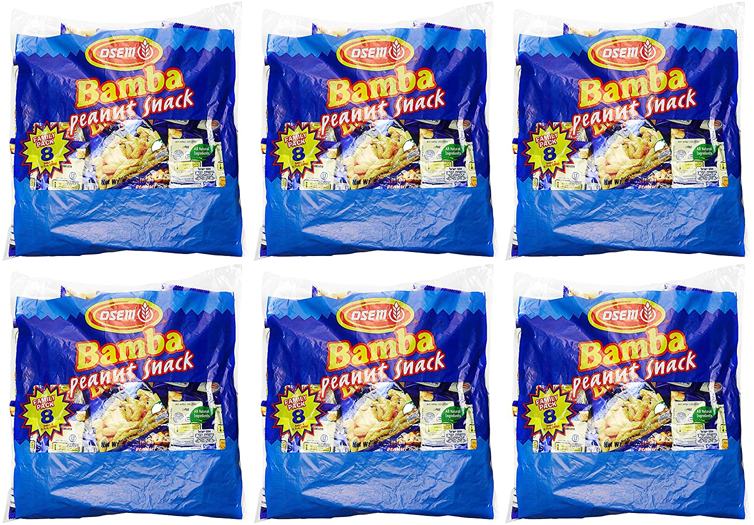 Bamba Peanut Snacks for Babies - All Natural Baby Peanut Puffs 6 Family Packs (Pack of 48 x 0.7oz Bags) - Peanut Butter Puffs made with 50% peanuts