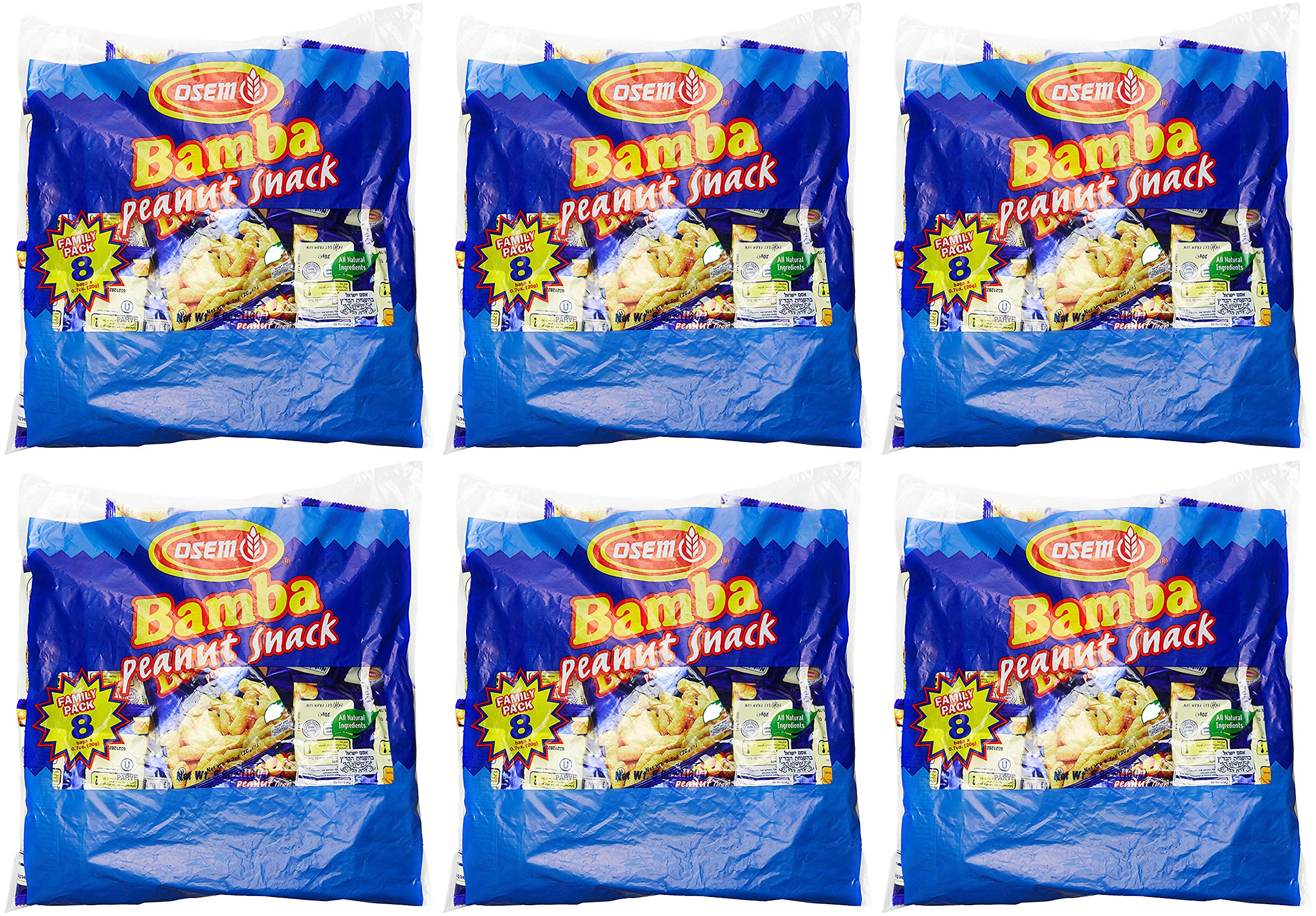 Bamba Peanut Butter Snacks All Natural Peanut Butter Corn Puff Snack (6 Family Packs) (Pack of 8 x 0.7oz Bags) by Osem