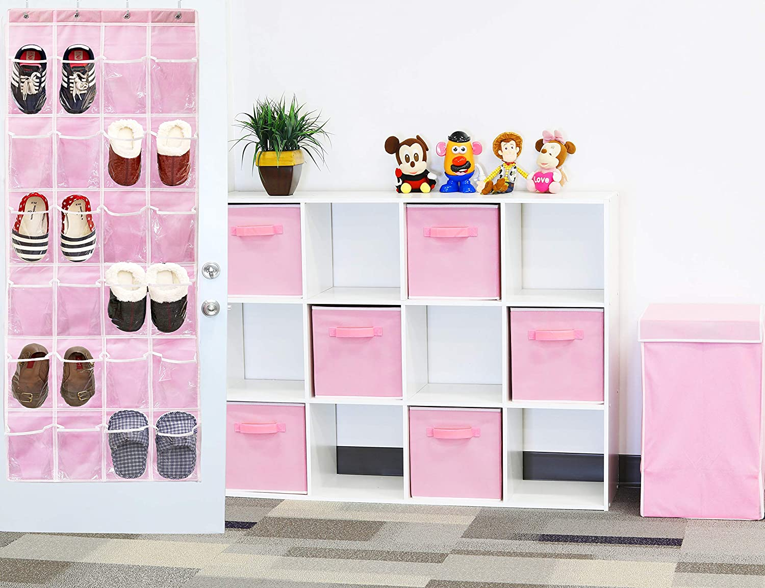 Simple Houseware SHW Over The Door Shoes Organizer Pink