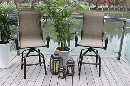 Pebble Lane Living Set of 2 Santa Monica Powder-Coated Bronze Outdoor Swivel Sling Patio Bar Stools – Seats 2