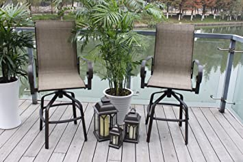 amazon com 2 santa monica outdoor swivel sling patio bar stools