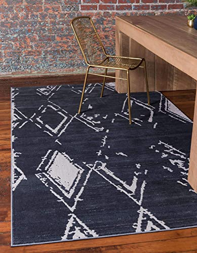 Unique Loom Uptown Collection by Jill Zarin Collection Geometric Modern Vintage Navy Blue Area Rug 9 0 x 12 0