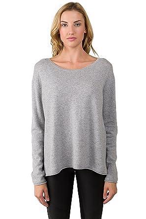 f6cfa40877e JENNIE LIU Women s 100% Cashmere Long Sleeve Boatneck High Low Dolman  Sweater(S