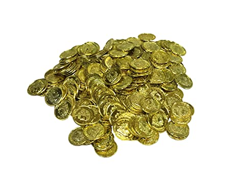 288 PLASTIC GOLD COINS PIRATE TREASURE CHEST  PLAY MONEY BIRTHDAY PARTY FAVORS