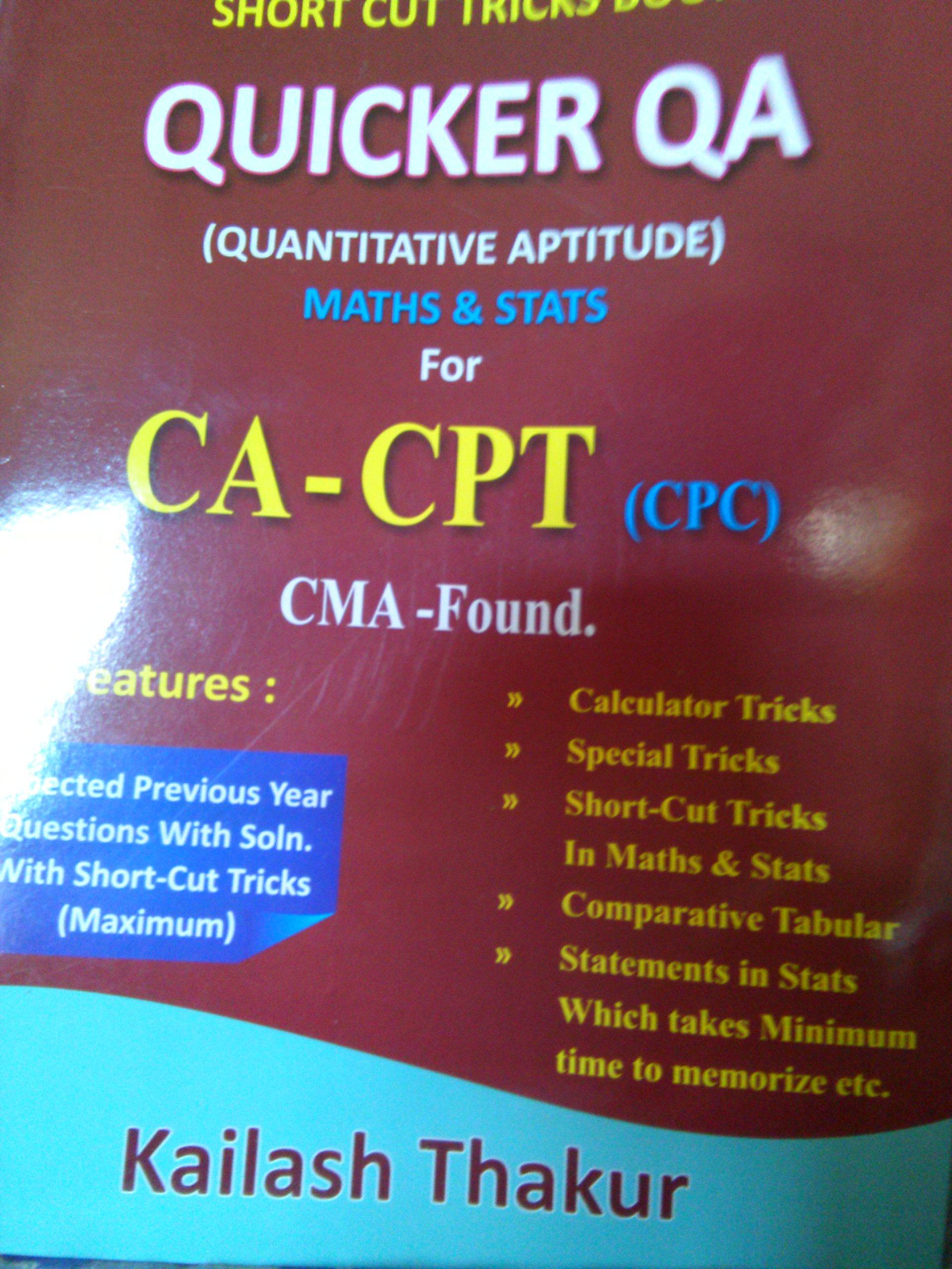 Buy short cut tricks book quicker qa for ca -cpt, cma foundation ...