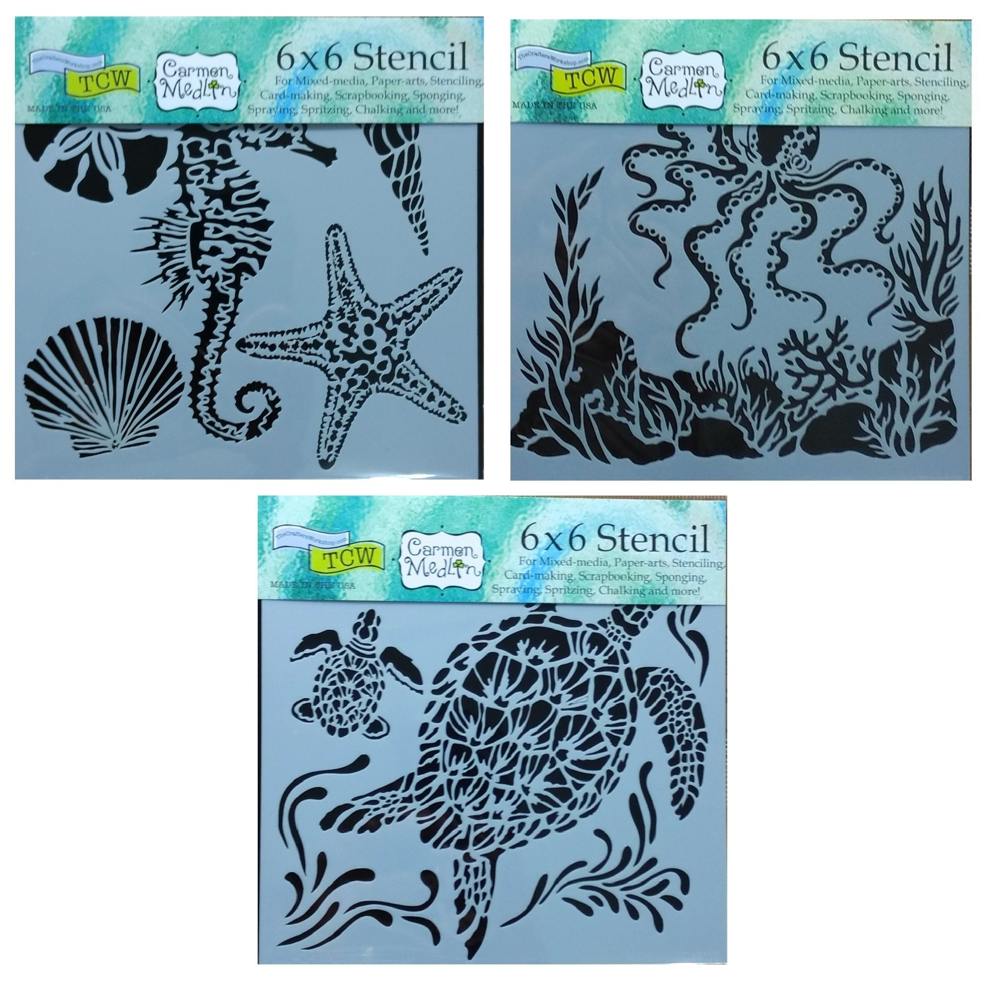 3 Crafters Workshop Mixed Media Stencils Set| for Arts, Card Making, Journaling, Scrapbooking | 6 Inch x 6 Inch Templates | Sea Creatures, Octopus, Sea Turtles by The Crafter's Workshop
