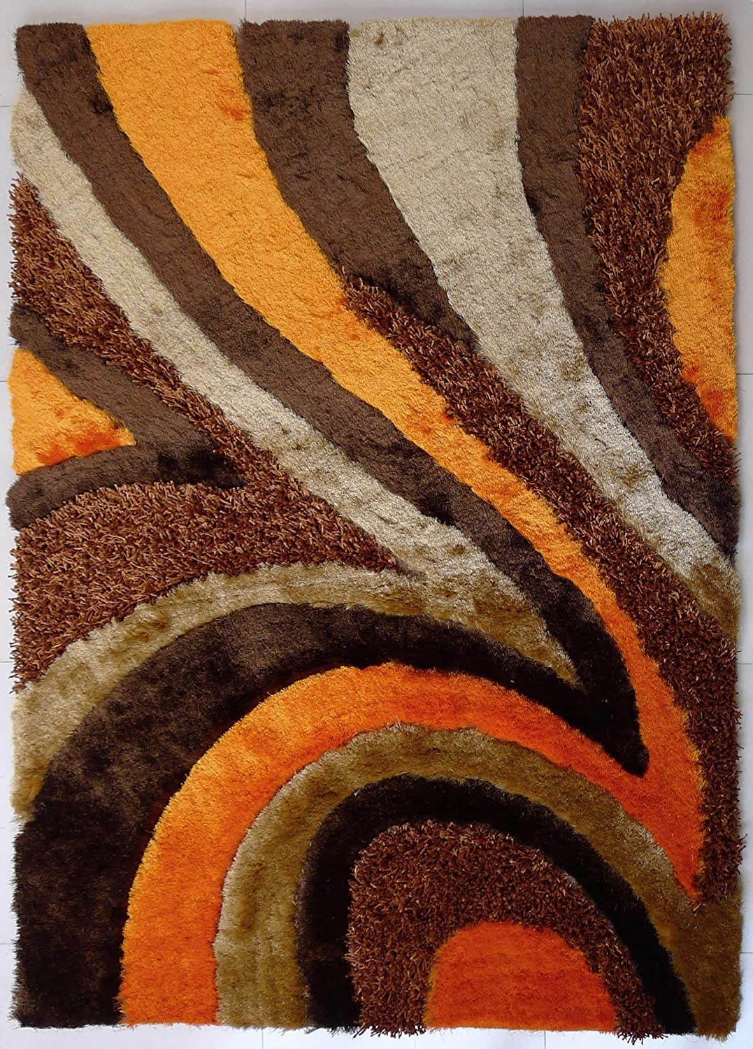 5280ef49d2c Amazon.com  Pure Comfort Hand Tufted Shaggy Area Rug With A Vibrant  Colorway Of Beige Brown And Orange Featuring A Modern Sleek Design Exact  Size 7 Feet 6 ...