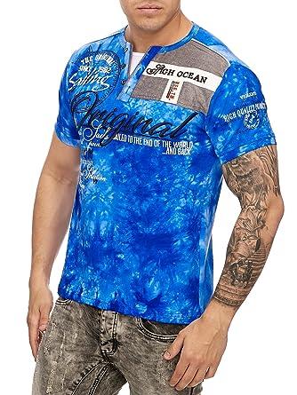 Herren Shortsleeve Kurzarm Washed Look Polo Kurzarm Shirt Clubwear T-Shirt  Blau M