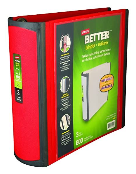 amazon com staples better 3 inch d 3 ring view binder red
