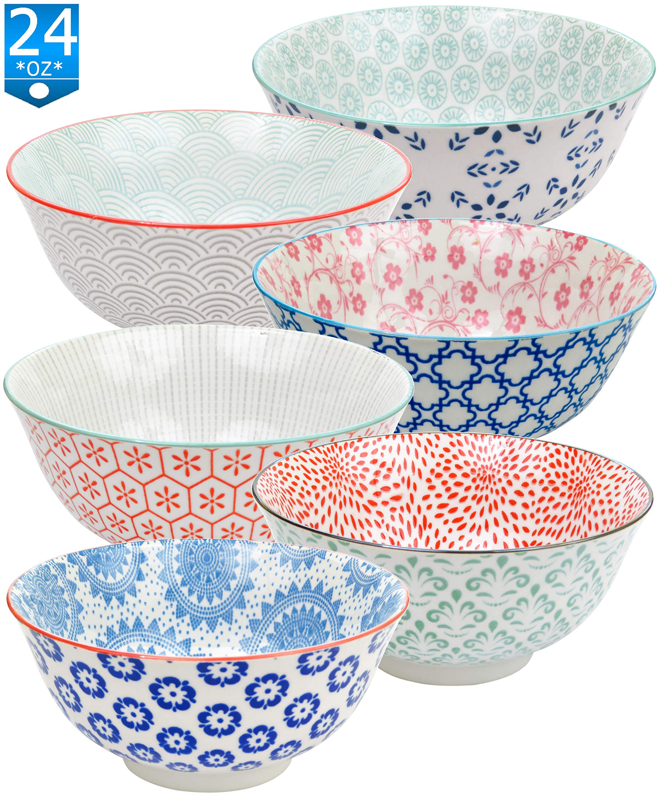 Gulee 24 Ounce Premium Porcelain Bowls Set - Great for Cereal, Soup, Salad, Rice or Pasta - 6 Vibrant Designs - Large Capacity - Heat and Cold Resistant Ceramic - Dishwasher and Microwave Safe