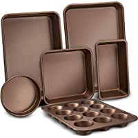 6-Pcs Nonstick Bakeware Set-Highest-Quality Baking Sheets, Non-Grease Cookie Trays, Wide & Square Bake Pan, Bread Loaf…