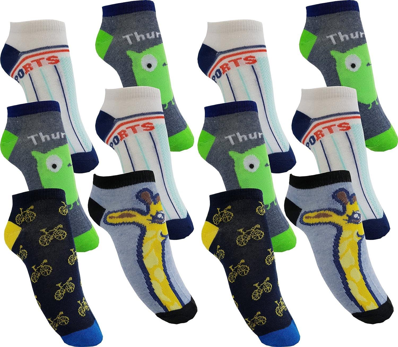 12 Paar Jungen Sneaker Kinder Socken 95% Baumwolle Bunter Mix Gr. 23-38