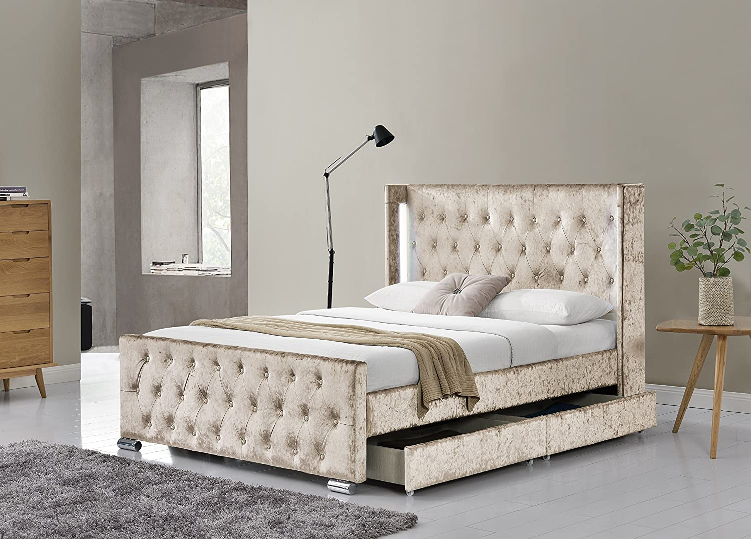 New Fabric Upholstered 4 Drawer Wing Back Led Storage Bed Frame Double And King Ebay