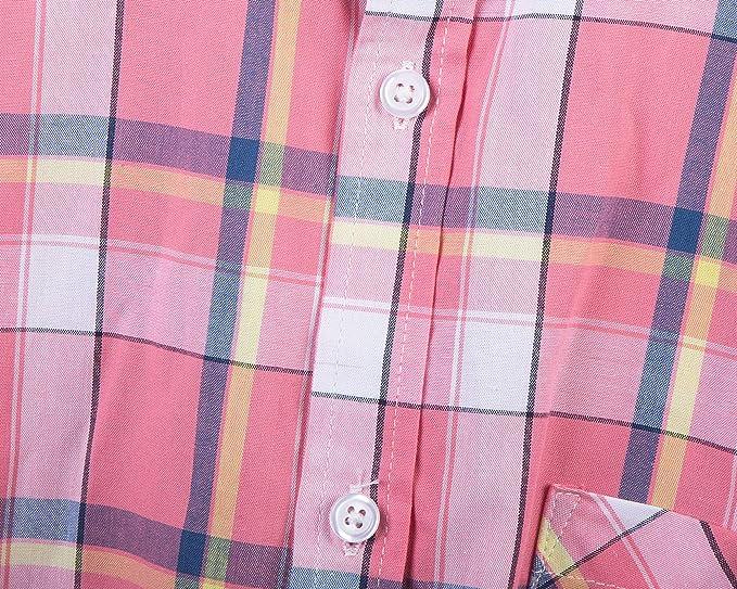 SOOPO Camisa Casual de Manga Corta a Cuadros de algodón para Hombres Camisa de Verano de algodón a Cuadros Regular-fit