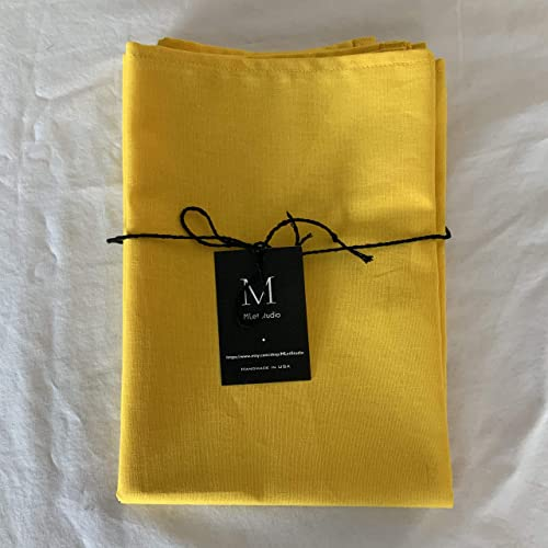 Set of 2 Large Handwoven Tea Towels Green and Gold