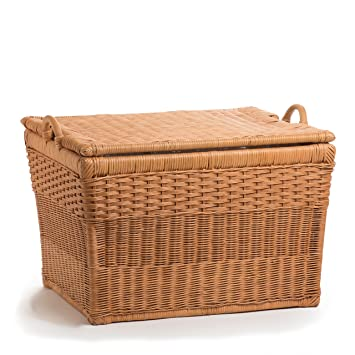 The Basket Lady Lift Off Lid Wicker Storage Basket, Large, Toasted Oat