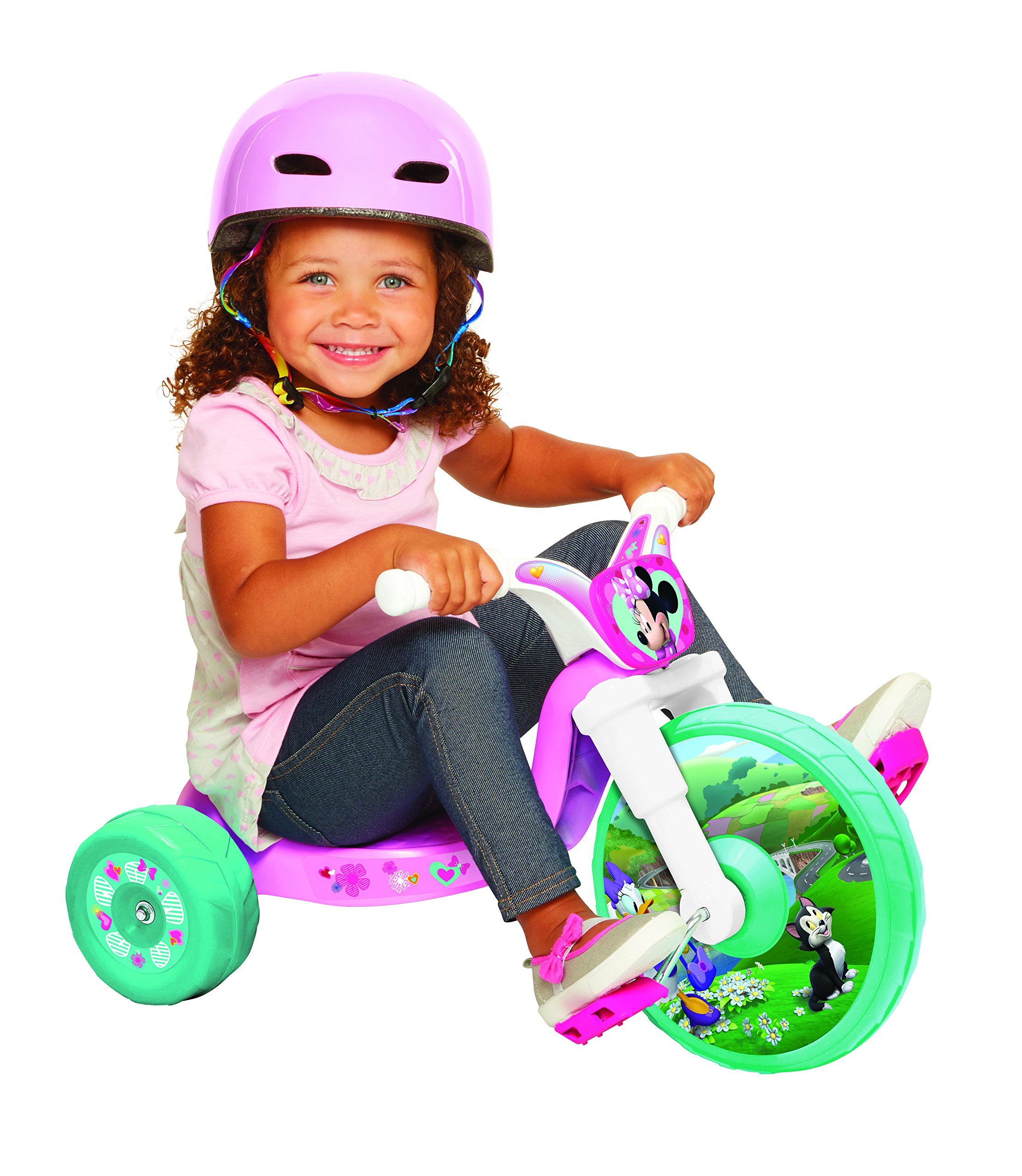 Minnie 10'' Fly Wheel Junior Cruiser 1 Ride-on, Ages 2-4, Pink/White/Teal, 14.25'' W x 14.5'' H x 23.5'' L