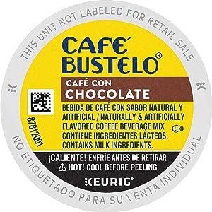 Café Bustelo Café con Chocolate Flavored Espresso Style Coffee, 10 K Cups for Keurig Coffee Makers