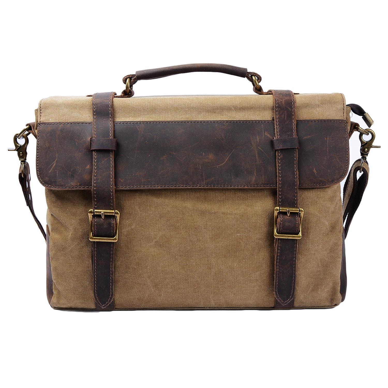S-ZONE Vintage Canvas Genuine Leather Messenger Traveling Briefcase Shoulder Laptop Bag S-ZONE D04V212C