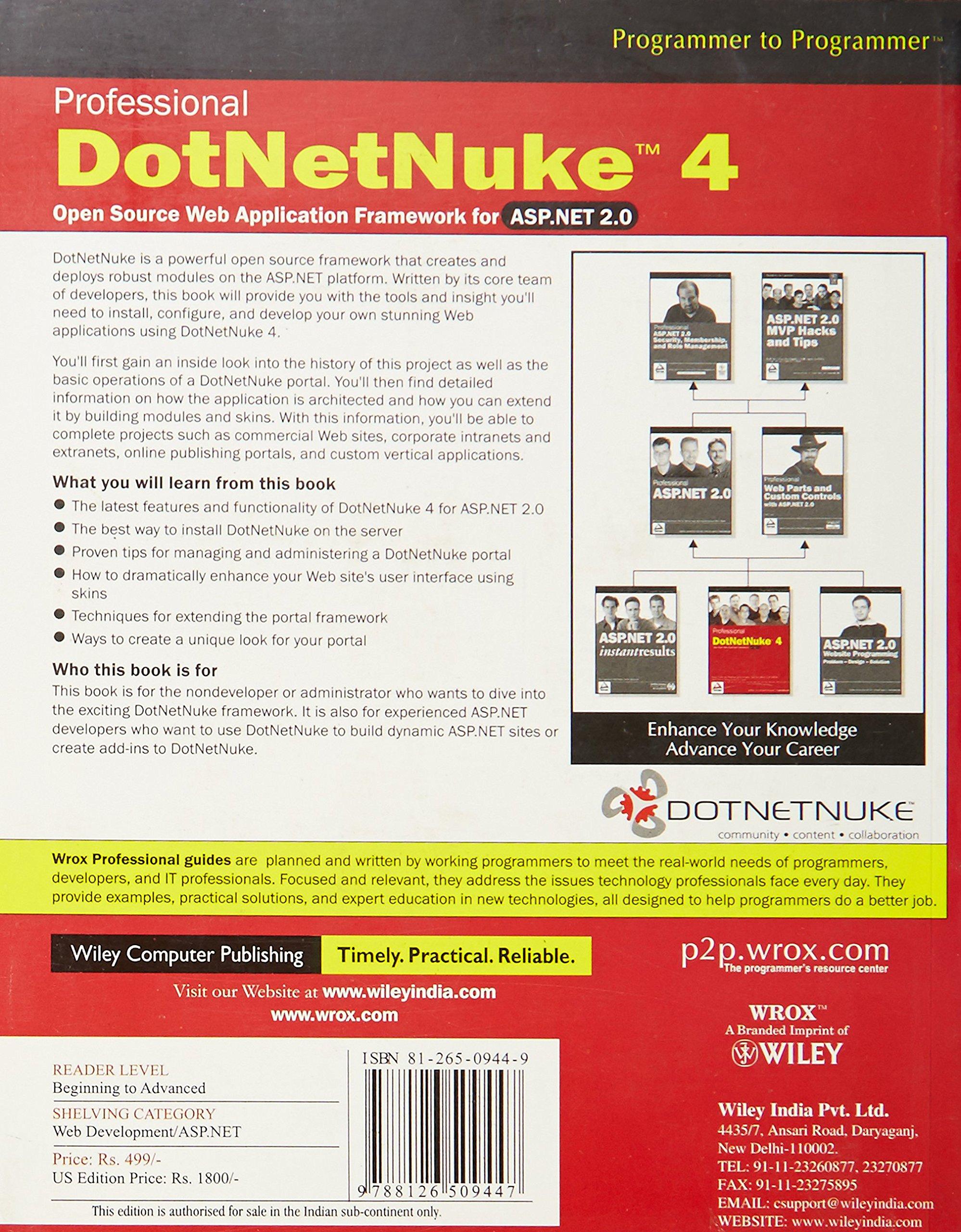 Buy Professional DotNetNuke 4: Open Source Web Application Framework ...