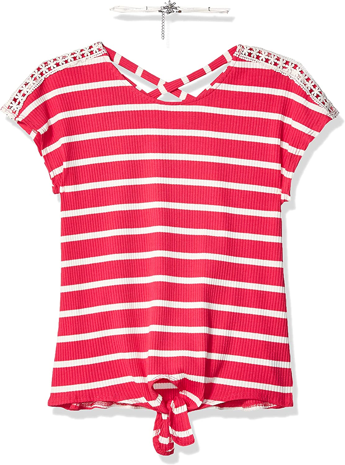 S Amy Byer Girls Short Sleeve Tie-Front Top Rainbow Pink//White Stripe