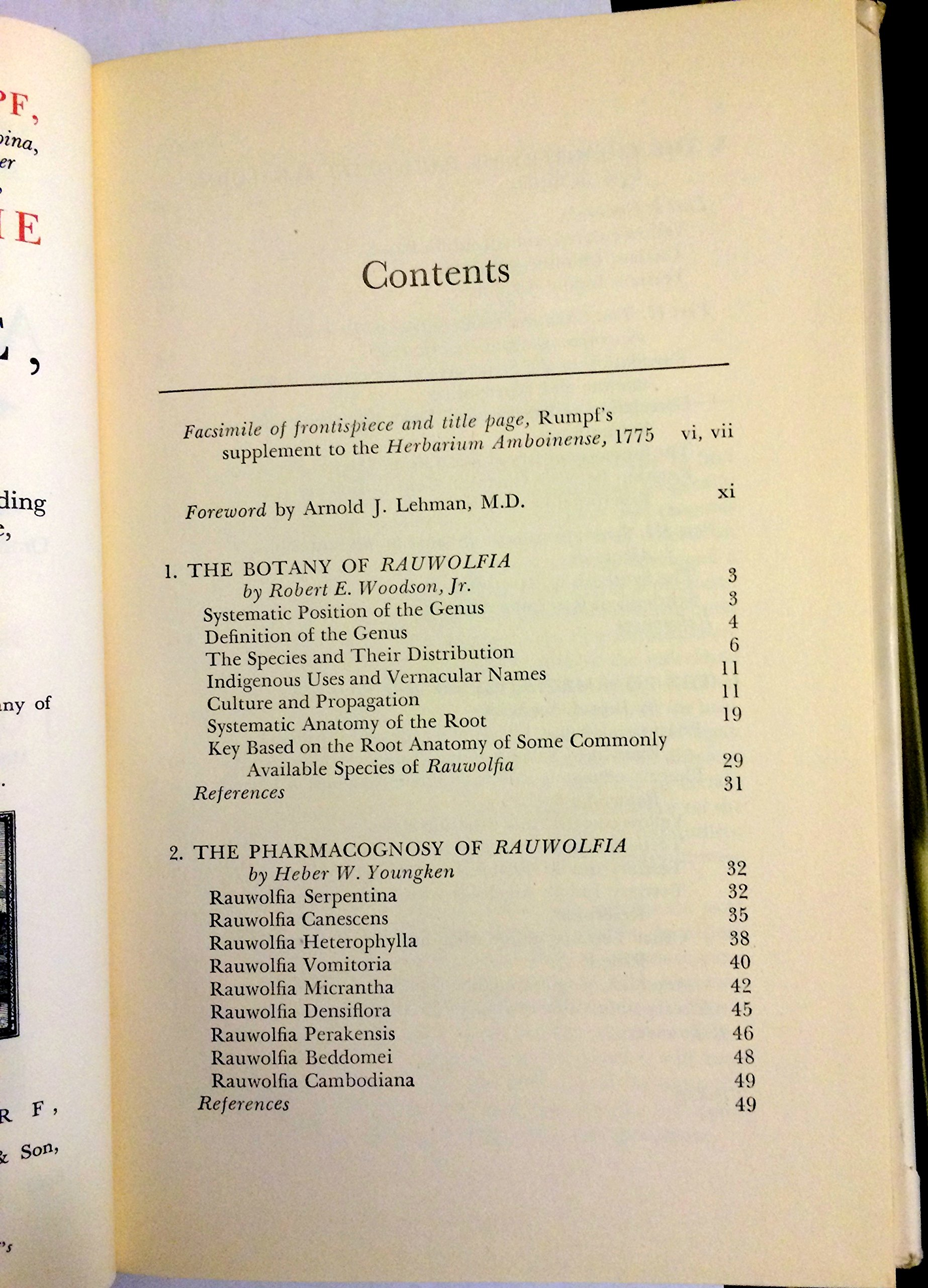 Rauwolfia Botany Pharmacognosy Chemistry Pharmacology Woodson