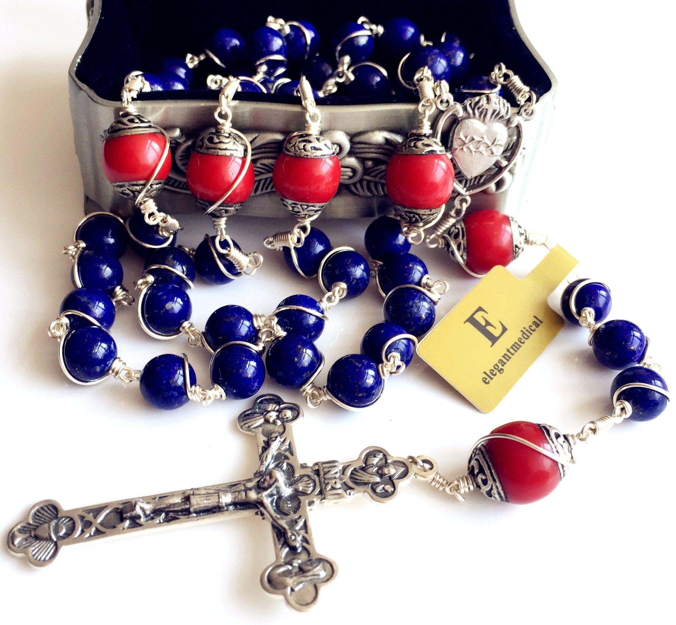 Handmade Sterling 925 Silver Lapis Lazuli Beads Rosary Cross Crucifix Catholic Necklace Gifts by elegantmedical (Image #4)