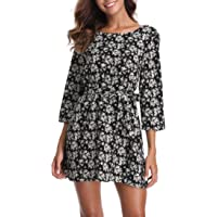 Miss Moly Women's 3/4 Sleeves Boat Neck Printed Belted Swing Casual Mini Dress