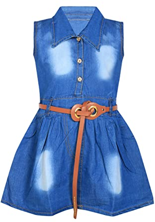 cf73be936 BENKILS Cute Fashion Baby Girl's Infant Jeans Frock Dressess (3-6 Months)  Blue