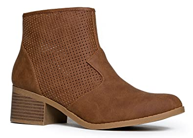 Round Toe Ankle Bootie - Perforated Low Block Heel Boot - Cowgirl Walking Shoe - Weezie by