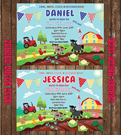 10 Farm Animal Personalised Party Invites Yard Birthday Invitations Amazoncouk Kitchen Home