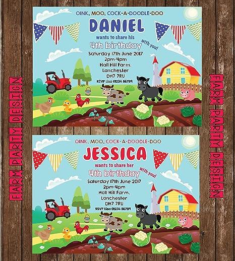 10 farm animal personalised party invites farm yard birthday