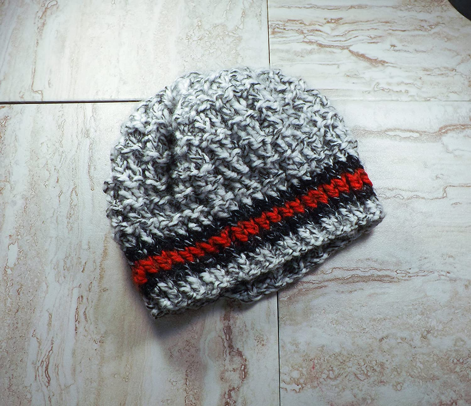 Grey, Red, and Black Beanie, Women's Winter Toque Women' s Winter Toque