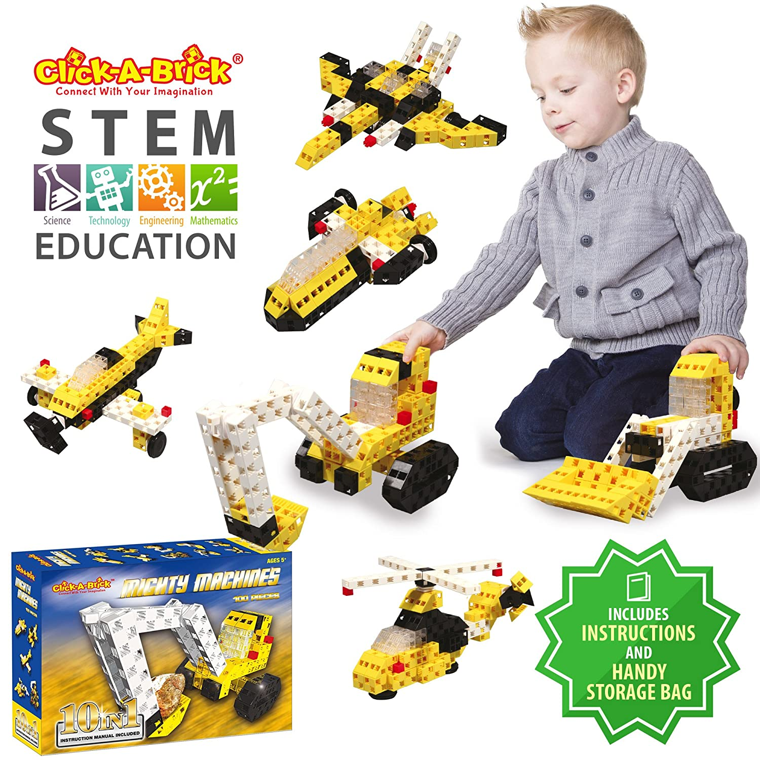 image of a boy playing with STEM building block set for boys in yellow and black color